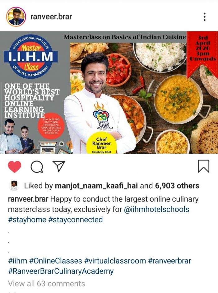 Chef Ranveer Brar Conducts Largest Online Culinary Masterclass, Exclusively for IIHM Students Before e-Chat Exam on April 14, 15, 16