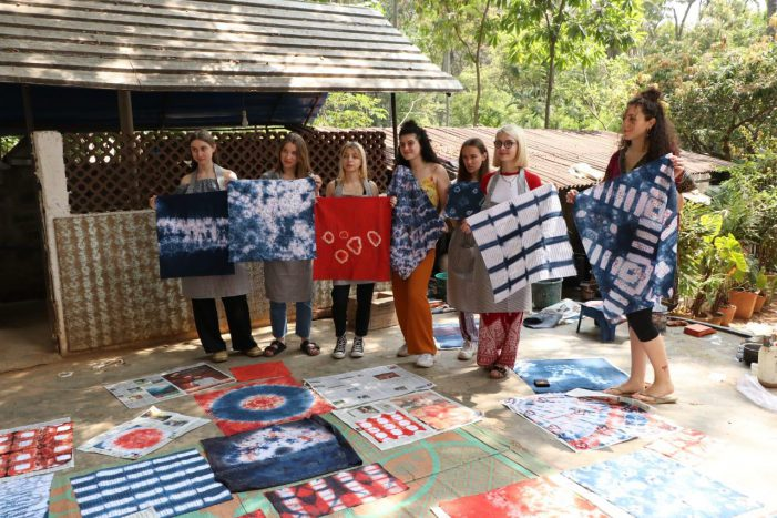 East meets West – French students work on natural fabric dyes in Bengaluru