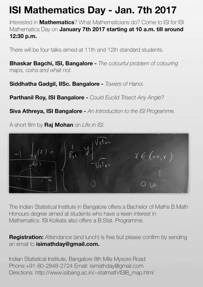 Indian Statistical Institute's Maths Day on Jan 7th 2017