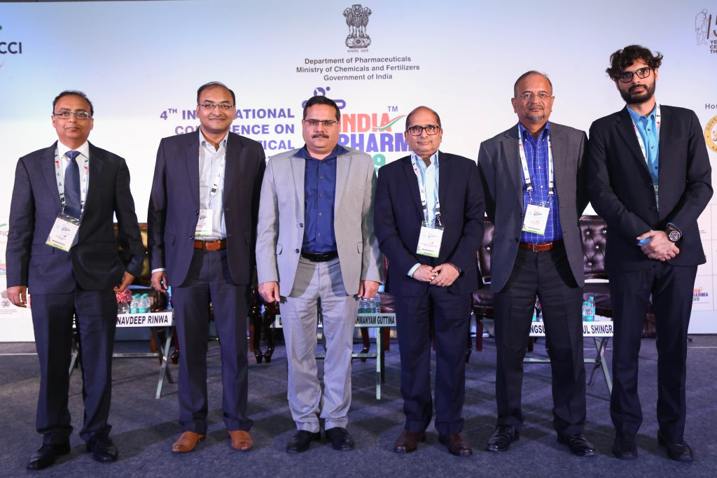 Dr Vivek Ahuja, Mr Navdeep Rinwa, Dr Subrahmanyam Gutina, Mr Debashish Banerjee, Mr Dileep Mangsuli and Mr Rahul Shingrani in a joint session, at the Medical Devices and Indian Pharma Conference, 2019