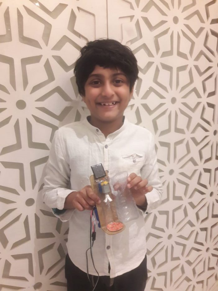 Eight-year-old from Trio World Academy develops a sanitiser capsule to curb COVID using recycled products