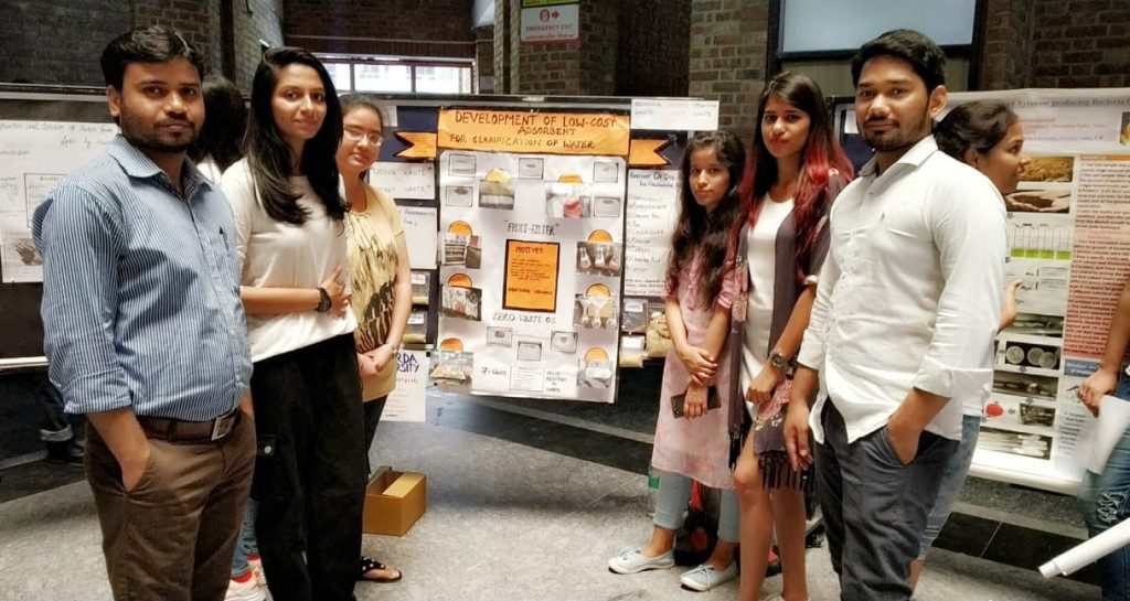 Students showcasing thier project on Low-Cost Adsorbent at 'Contrivance 2019'