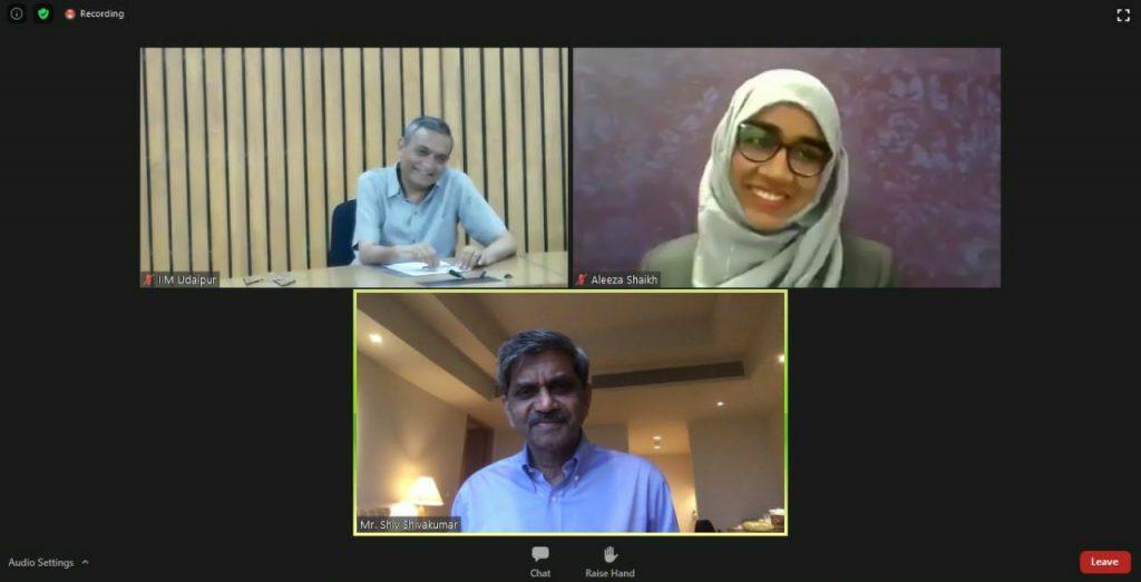Webinar-Picture-Left-to-Right-Prof.-Janat-Shah-Aleeza-Shaikh-Student-at-IIM-Udaipur-Mr.-Shiv-Shivkumar-Board-member-IIMU
