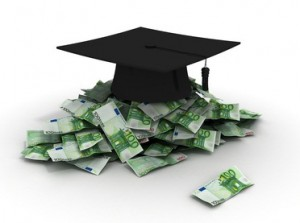 graduation hat with euro money