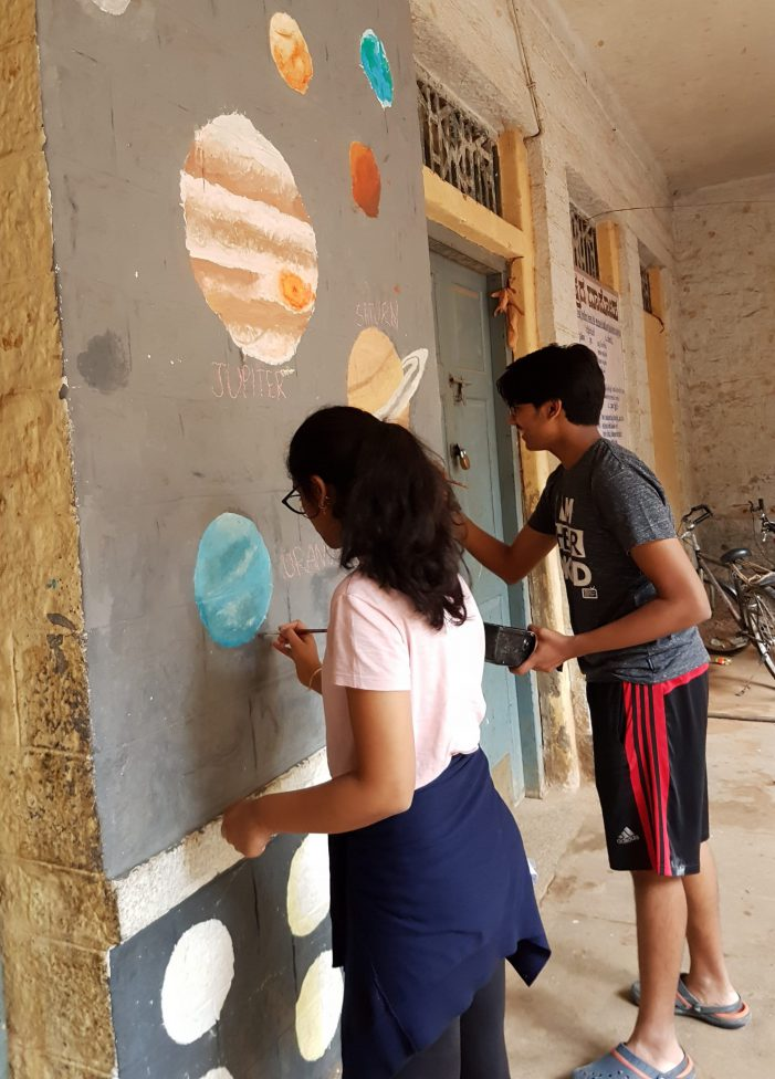 Greenwood High students brighten government schools through colourful murals